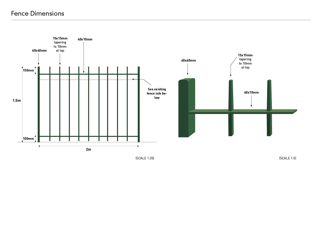 Stanmer House Fence Specification