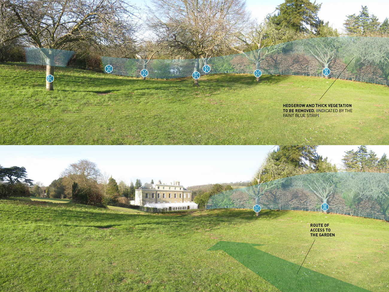 © Fiona Atkinson Landscape Design - Proposed trees and view - visual by Jim Hine